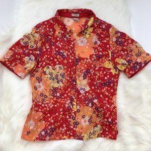 Anthropologie Odille Floral Short Sleeved Blouse